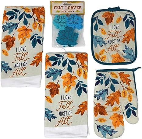 Northeast Harvest Autumn Kitchen Dish Towels Potholder Oven Mitt Felt Leaves 5 Pack I Love Fall Most Of All Leaves Home Kitchen