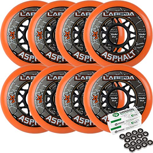Labeda Asphalt Outdoor Inline Hockey Wheels (80mm, 8-Pack W/Bearings)
