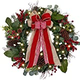 Valery Madelyn Pre-Lit 30 Inch Farmhouse Christmas Wreath for Front Door with Ball Ornaments Decorations,...