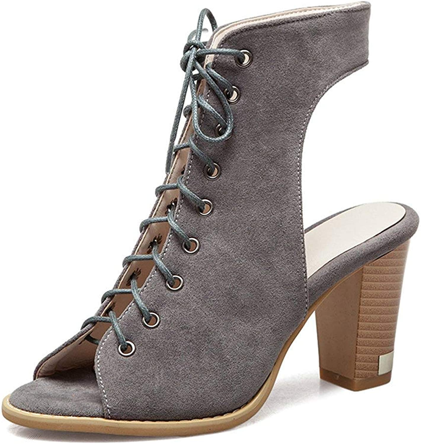 Unm Women's Peep Toe Sandals - Stylish Lace Up Stacked shoes - Gladiator High Heel Ankle High