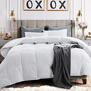 Yalamila Lightweight Down Comforter with Corner Tabs-All Season Quilted Duvet Insert Bedding-Goose Duck Down Feather Filling-White Stand Alone Down Feather Comforter-Oversize Queen(98×98)