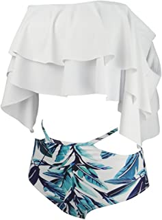 GIRL AND SEA Women's Off Shoulder Flounce Bikini Swimsuit