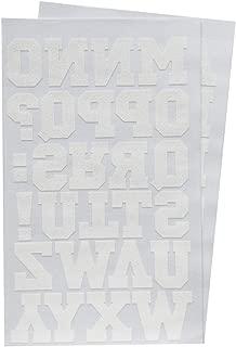 Magfok Iron on Transfer 1.5 Inch White Letters 2 Sheet (Black or White Optional)
