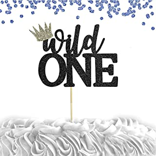 Wild One Cake Topper for Birthday - Black Glitter Smash Cake Topper, New Baby For Photo Booth Props, Black And Gold Cake Decorating Supplies, Bling Baby Shower Decorations (BLACK WILDONE)