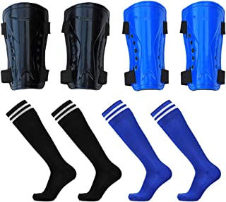 2 Pair Soccer Shin Pads and Long Sleeve Soccer Socks, Breathable Adjustable Football Guards Board Gear for 5-15 Years Old Kids, Teenagers