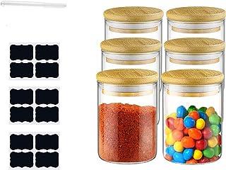 Annfly Lot de 6 bocaux de rangement en verre avec couvercles hermétiques avec couvercle en bambou naturel, anneau en silic...