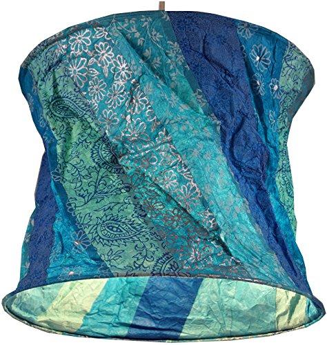 Guru-Shop Runde Papier Hängelampe, Papierlampenschirm Annapurna, Handgeschöpftes Papier - Blau/gestreift, Lokta-Papier, 25x28x28 cm, Handgemachte Deckenleuchte