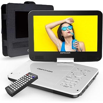 【新機種】DBPOWER ポータブルDVDプレーヤー 10.5インチ【車載用ホルダー付き】 高耐久性 5時間連続再生 レジューム機能 270度回転 リージョンフリー CPRM対応 TV同期可能 SD/MS/MMCカード/USBに対応 車載携帯式