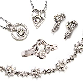 One&Only Jewellery 【SWAROVSKI福袋】 豪華5点セット スワロフスキー エレメンツ トータルコーデセット ネックレス リング ブレスレット 正規ストーン採用 (イヤリングセット)