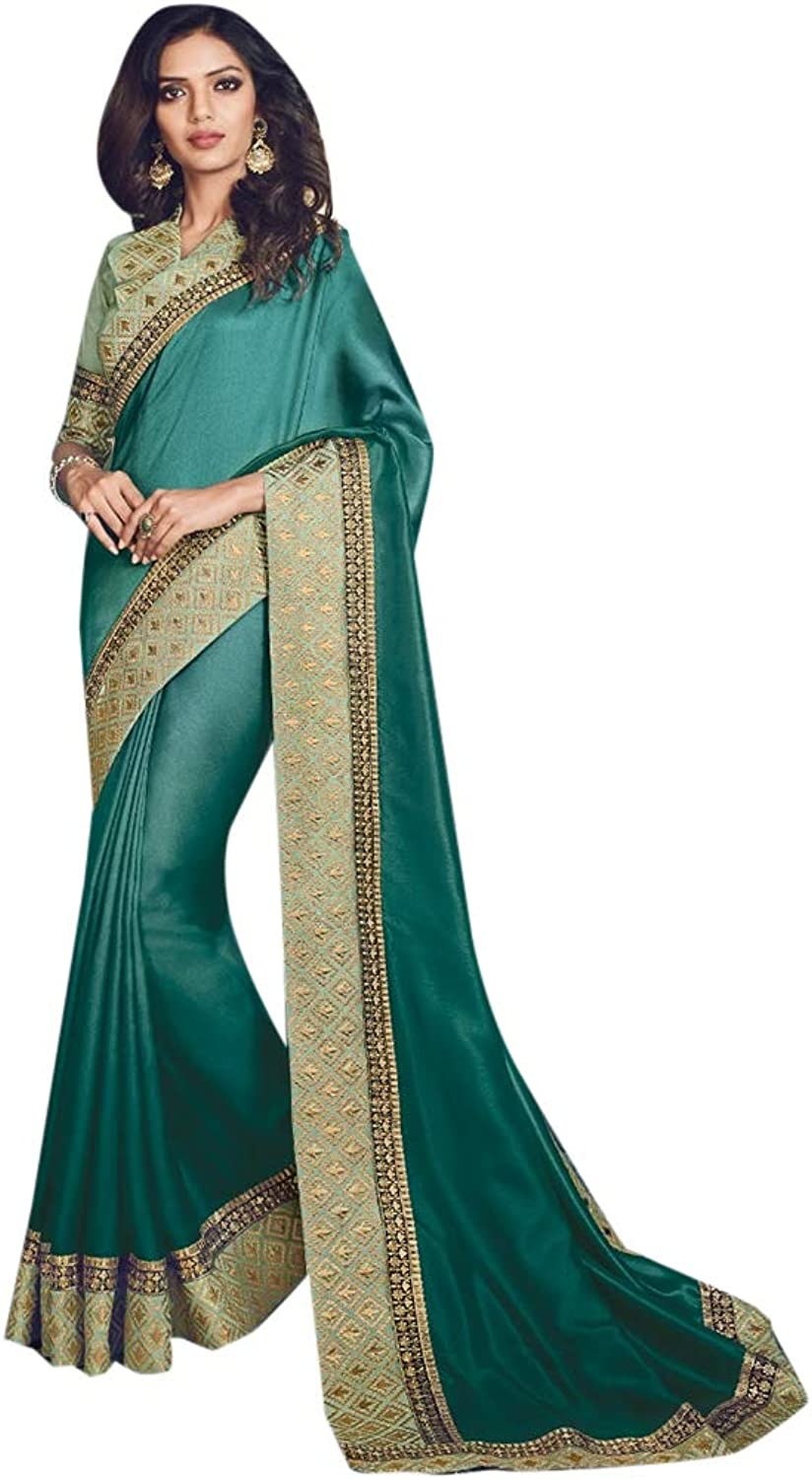 Indian Ethnic Big Border Embroidered Silk Saree And Blouse Designer Collection Women Stylish Party Formal Wear 7270