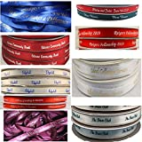 Personalized Satin Ribbon Wedding Favor Christmas Communion Baptism Christening Sweet 16 Sweet 15 Baby Shower Bar Bat Mitzvah Custom Printed for Party Bridal Quinceanera Memorial 15 Feet (3/8' Width)