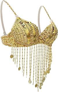 Lovoski Womens Belly Dance Sequin Beaded Bra Tops Samba Dancing Costume Tassel