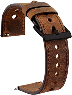 Cauwsai Leather Watch Band, Classic Quick Release Genuine Leather Watch Strap 18mm, 20mm, 22mm, Brown/Coffee/Orange