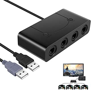 Gamecube Adapter,Bigaint Game Cube Controllers Adapter with 4 Port for Wii U, PC USB & Switch-Black