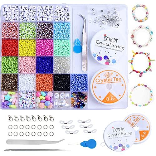 26 Colori 3mm Perline Vetro per Bigiotteria Fai da te Perline Colorate Lettere con Elastic Thread Kit Creare Gioielli per Braccialetti, Collane, Bigiotteria