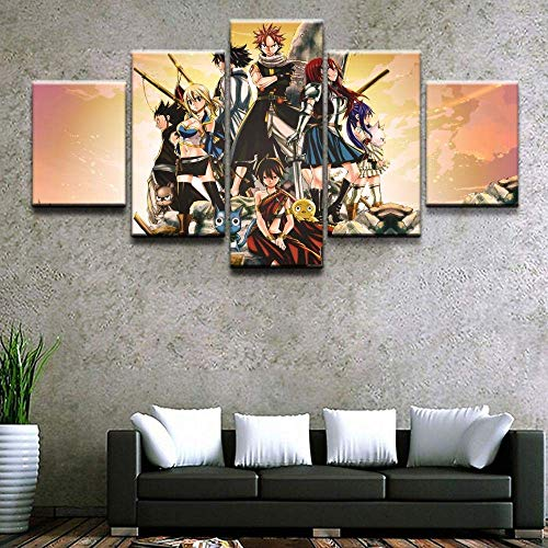 WEIGENG Impresiones en Lienzo, póster Creativo de 5 Piezas de Anime Fairy Tail, Cuadros Decorativos modulares, Pintura de Arte de Pared Moderna