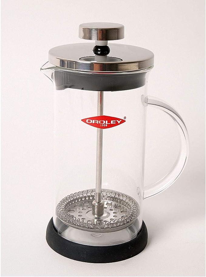 Oroley - Cafetera Francesa Spezia | de Émbolo | de Acero Inoxidable y Cristal | 3 Tazas | Para Café y Té | 350ml