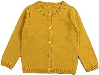 RJXDLT Girls Crewneck Cardigan Long Sleeve Children Button Cotton Sweater Uniform Sweaters for Little Girls
