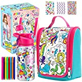 SUPER VALUE PACK. This Create your own set includes a Lunch Bag, a Water Bottle, a Heart Shaped Bottle Buckle, 8 pcs ofWater Color Pens and 3 Sheets Adhesive Gems. UNIQUE DESIGN. Show off your originality and create a custom unicorn and mermaid them...