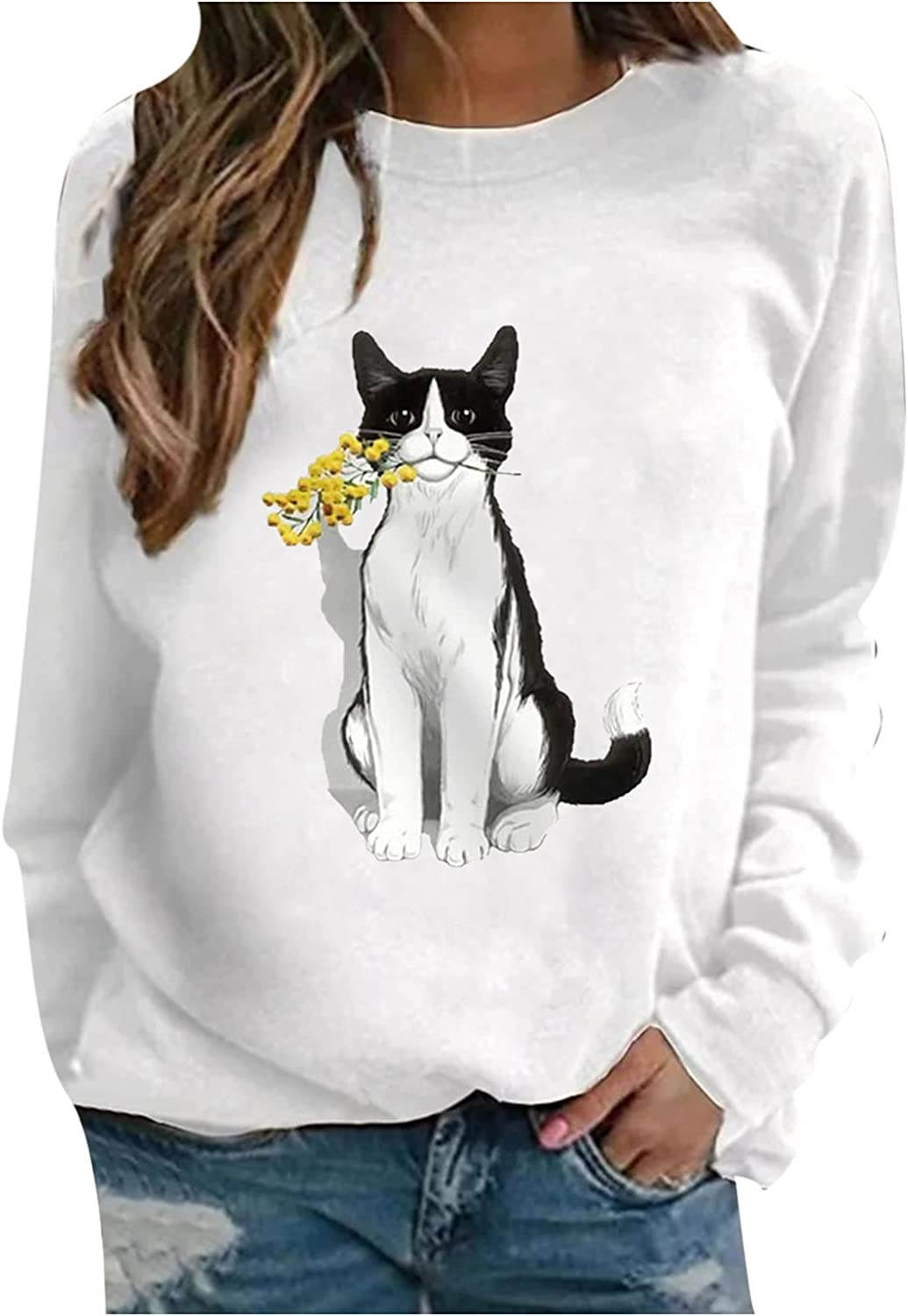 Jchen Women's OFFicial Pullover Sweatshirt Directly managed store Casual Pr Sleeve Cat Long Cute