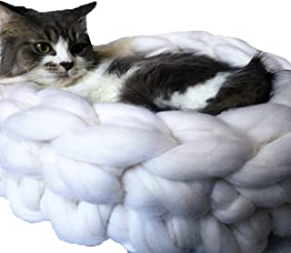 White Cat Bed,Chunky Knit Pet Bed,Pet Cave,Pet Bedding,Chunky Cat Bed,Merino Wool Cat Cave,Wool Pet Bed,Chunky Yarn Kitten Bedding Diameter 20in
