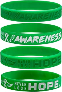 Sainstone 4-Pack Green Mental Health Awareness Silicone Bracelets with Saying - Never Lose Hope, Change Begins with Awaren...