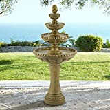 """66"""" high x 30"""" wide and deep. Holds 6 to 8 gallons. Weighs 71 lbs. Four-tier traditional patio garden fountain by John Timberland. Water flows from decorative flower at top. 2 built-in LED lights in the lower basin. Stone finish. Lightweight cast res..."""