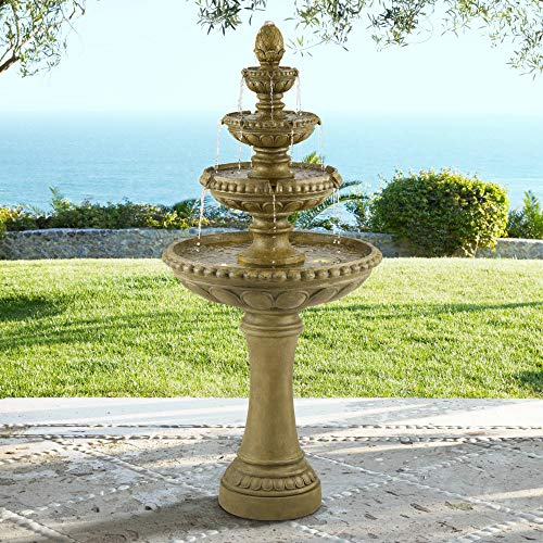 """John Timberland Sag Harbor Italian Outdoor Floor Water Fountain with Light LED 60"""" High 4 Tiered for Yard Garden Patio Deck Home"""
