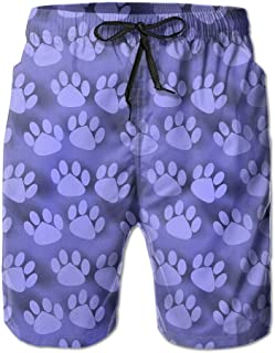 Tydo Quick Dry Beach Shorts Dog Footprints Paw Pattern Swim Trunks Surf Board Pants with Pockets for Men
