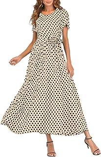 فساتين ماكسي للنساء من Fankle فستان طويل برقبة على شكل حرف V بخصر مرتفع وتصميم منقط بطباعة على شكل حرف A