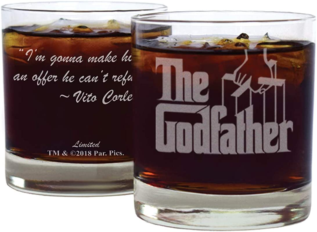 Movies On Glass Premium Etched The Godfather Movie Logo With Quote I M Gonna Make Him An Offer He Can T Refuse Vito Corleone One Engraved Cocktail Glass
