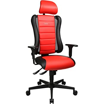 Topstar Sitness RS Büro Gaming Schreibtisch Stuhl, inkl. Armlehnen und Kopfstütze, Stoff, rot schwarz, 60 x 68 x 139 cm
