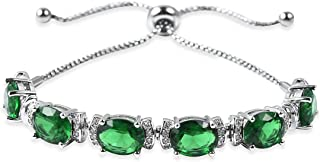 "Shop LC Delivering Joy Magic Bolo Bracelet Green Glass White Cubic Zirconia CZ Stainless Steel Silvertone Size 6.5"" Cttw 12"