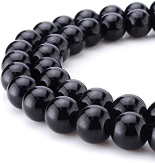 BEADNOVA Black Onyx Beads Natural Crystal Beads Stone Gemstone Round Loose Energy Healing Beads with Free Crystal Stretch Cord for Jewelry Making (8mm, 45-48pcs)