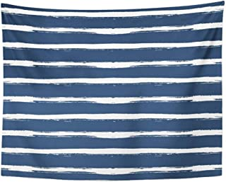 SPXUBZ Wall Tapestry Watercolor Circles White Strips on Dark Blue Navy Point Abstract Bands Bar Wall Hanging Decoration Soft Fabric Tapestry Perfect Print for House Rooms