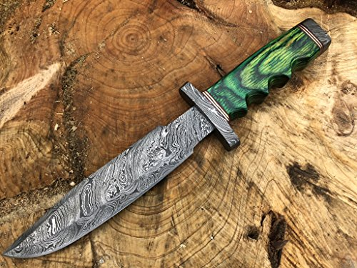 Perkin Knives Damascus Steel Hunting Knife Handmade Knife Fixed Blade (Green Wood Handle and Damascus Guard)