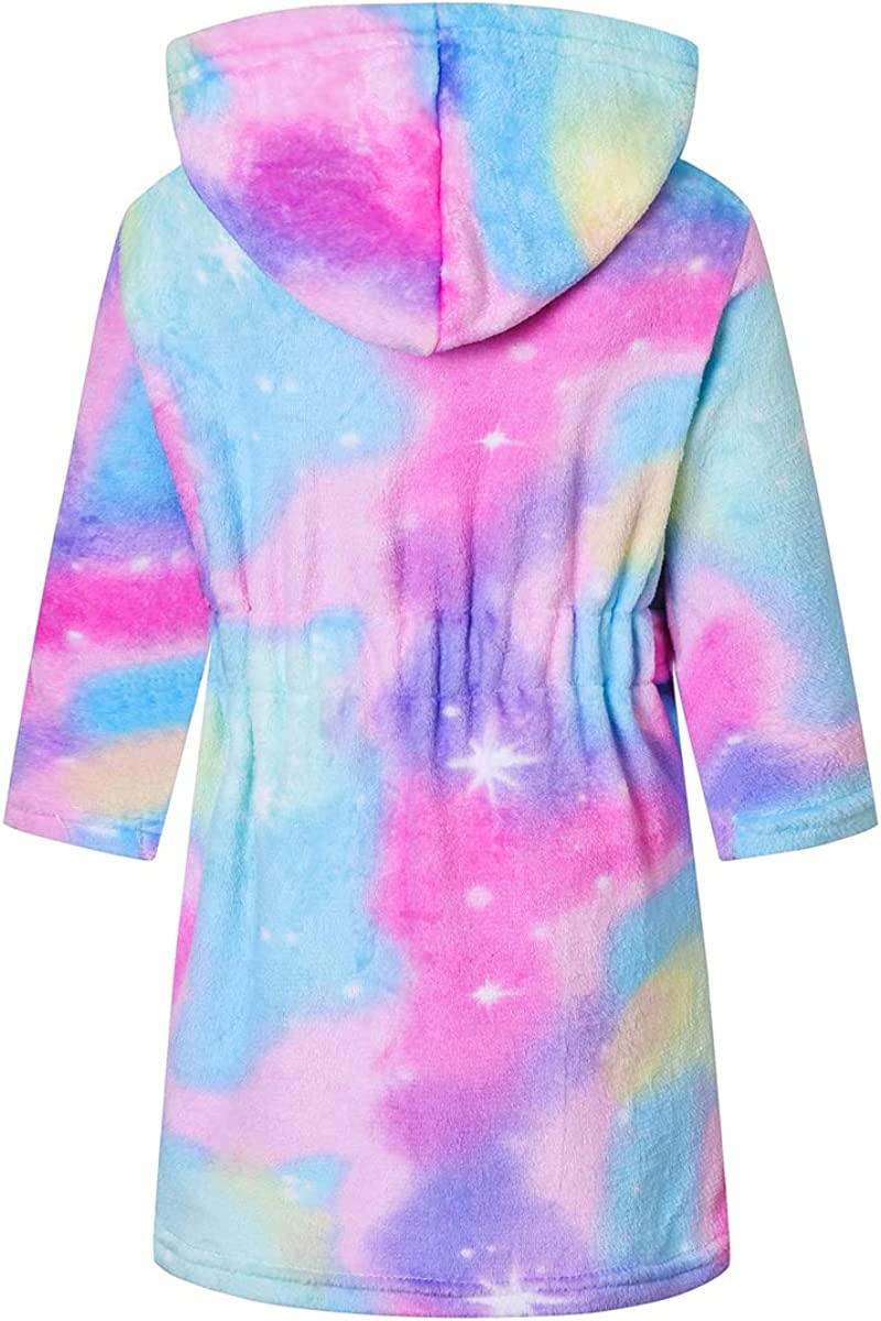 Betusline Girls Bathrobe Soft Fleece Robe with Pockets, 12 Months - 18 Years: Clothing, Shoes & Jewelry
