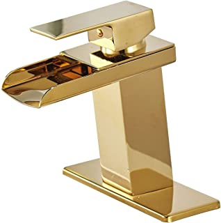 Bathfinesse Bathroom Sink Faucet Waterfall Spout Single Handle One Hole Lavatory Faucets Gold