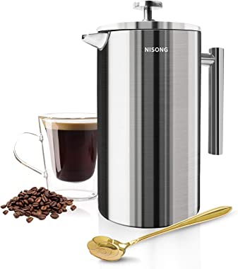 Large French Press, 50 oz French Press Coffee Maker 1500ML with Double-Wall Insulated Stainless Extra Filter Screens Dishwash
