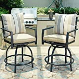 LOKATSE HOME Patio Bar Height Chairs, Outdoor Swivel Bar Stools Chairs with Seat and Back Cushions, High Swivel Armrest Bar Chair Set of 2