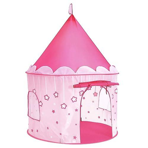SONGMICS Tente de Jeu Chateau de Princesse pour Fille, Maison de Jeu Intérieure et Extérieur, Portatif avec Étoiles Brillantes, Cadeau pour Enfants, Rose LPT01PK
