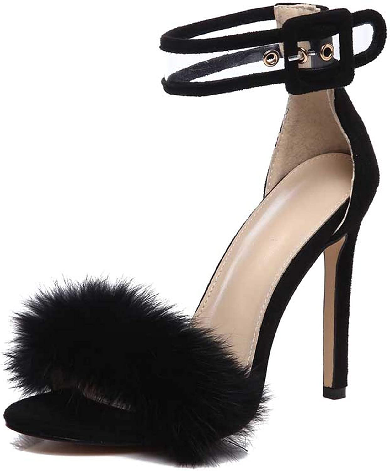 Ches Women Summer High Heel Sandals Leopard Fur Square High Heel shoes Woman Ankle Strap Buckle Sandal Size 35-40