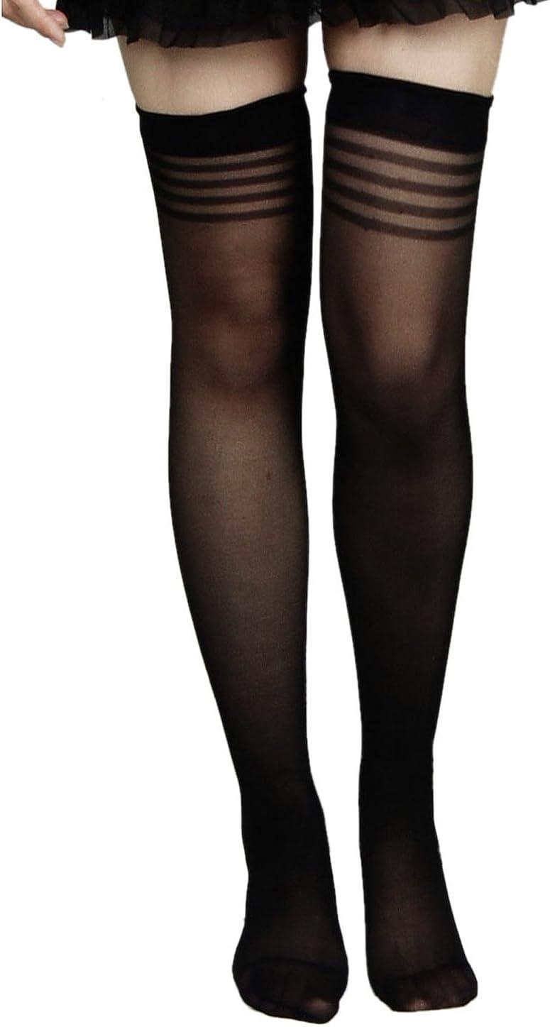 Allegra K Woman Black Stretchy Sheer Sexy Thigh High Socks Stockings