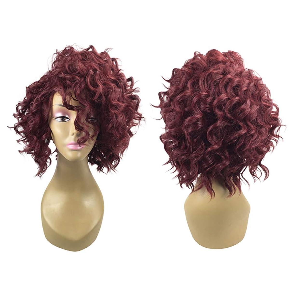 是正ボリューム心配する女性ファッションヘアウィッグ自然に見える絶妙な弾性ネット付きカバー(589ワインレッド)