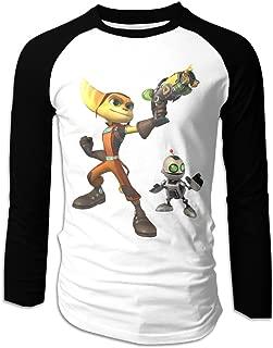 Creamfly Mens Ratchet & Clank Long Sleeve Raglan Baseball Tshirt