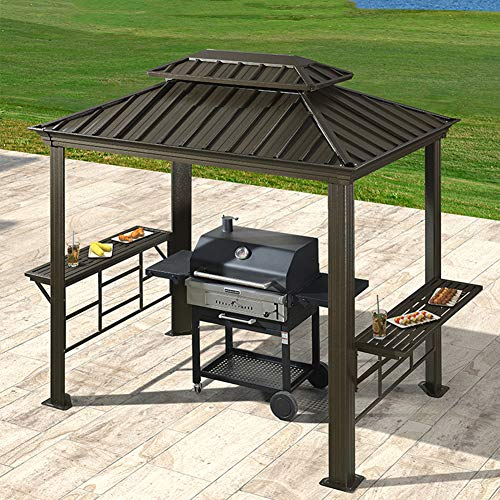 ZYFWBDZ Outdoor 6' x 8' Grill Steel Hardtop Gazebo with Shelving, Air Vent Double Tiered Outdoor Barbecue Canopy BBQ Gazebo Canopy Tent