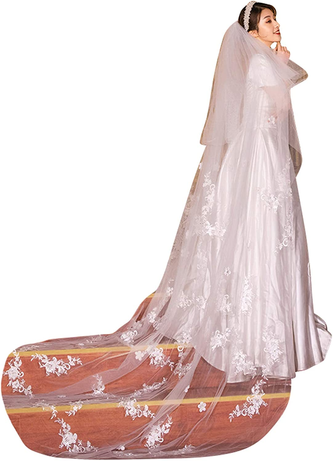 Wedding Veils Cathedral Length for Brides 2 Tier Floral Lace Appliques Blusher with Comb