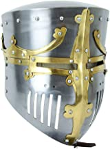 Armor Venue 13th Century Great Pot Helm with Brass Crown and Cross