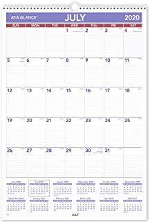 """Academic Wall Calendar 2020-2021, AT-A-GLANCE, 15-1/2"""" x 22-3/4"""", Large, Wirebound, Plan-A-Month (AY328)"""