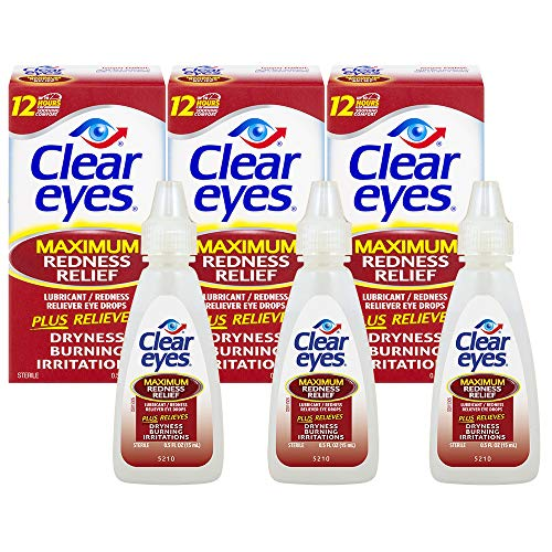 Clear Eyes | Maximum Redness Relief Eye Drops | 0.5 Fl Oz (Pack of 3)